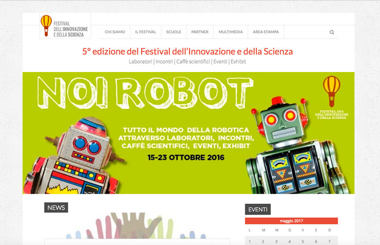 WEB DESIGN | Festival dell'Innovazione e della Scienza - Settimo Torinese - Sito web