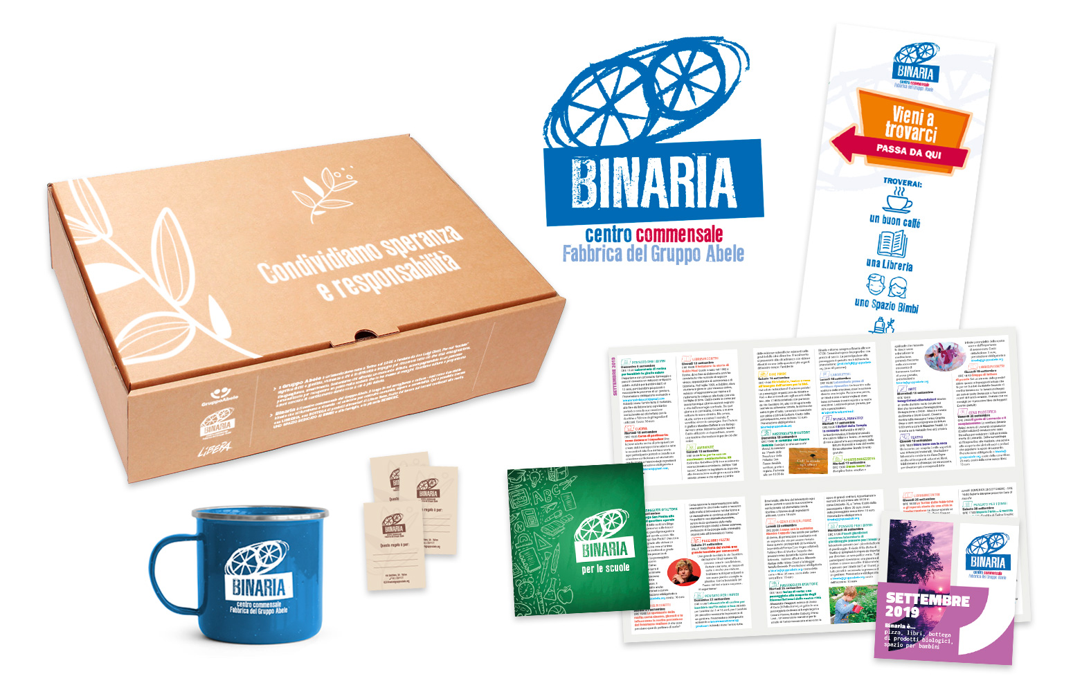 Binaria Centro Commensale del Gruppo Abele - grafica, packaging, flyer, brochure, gadget, segnaletica