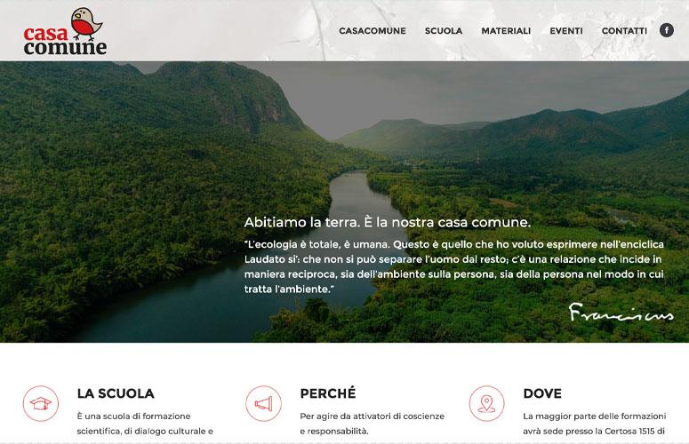 Casa Comune Laudato si Laudato qui, Scuola e Azioni, Progetto e realizzazione sito web, WordPress
