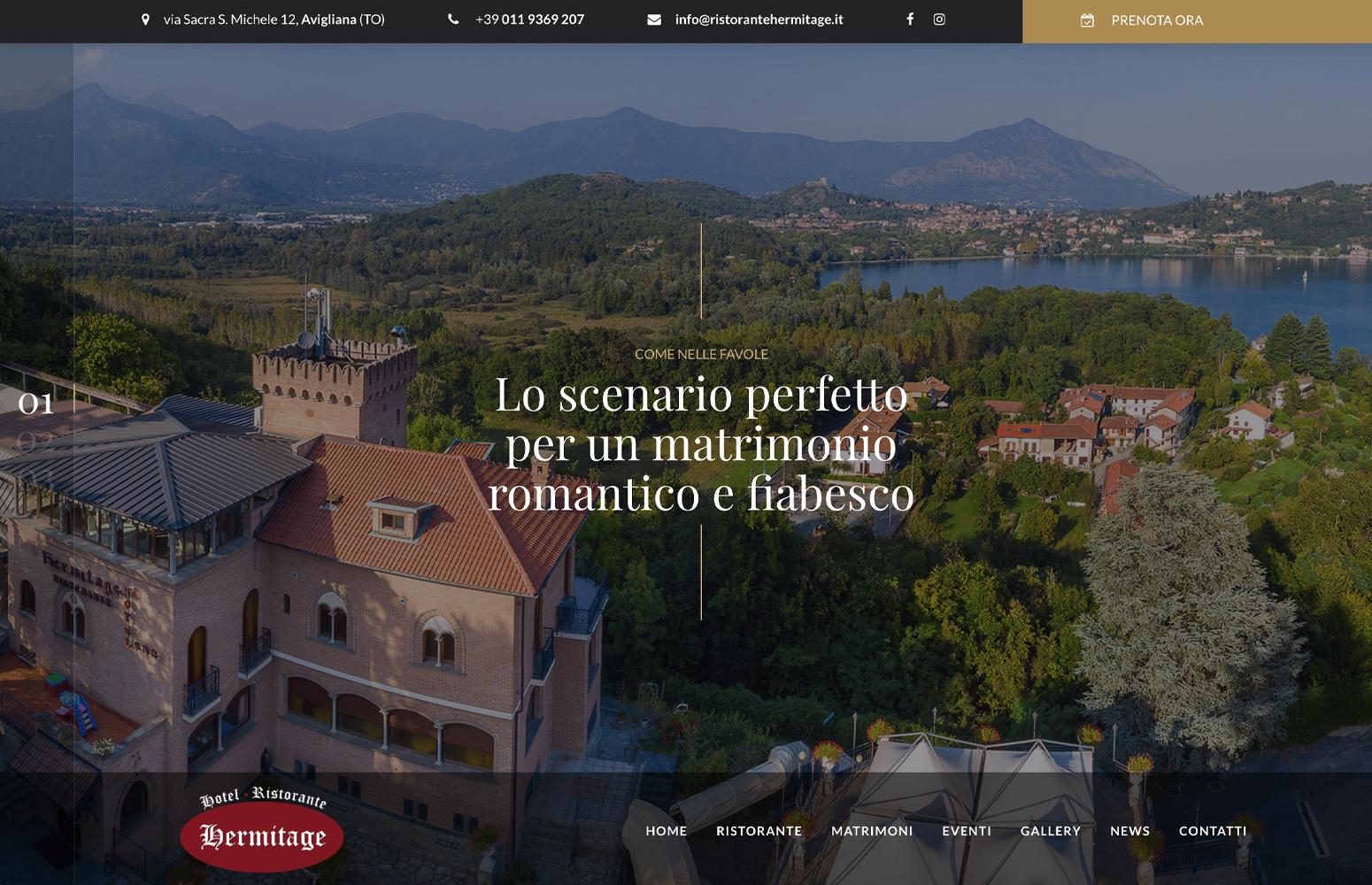 Ristorante Hotel Hermitage, Avigliana - Torino, Progetto e Realizzazione Sito Web, WordPress